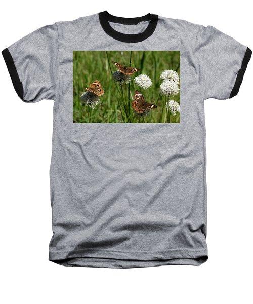 Three Buckeye Butterflies On Wildflowers Baseball T-Shirt by Sheila Brown