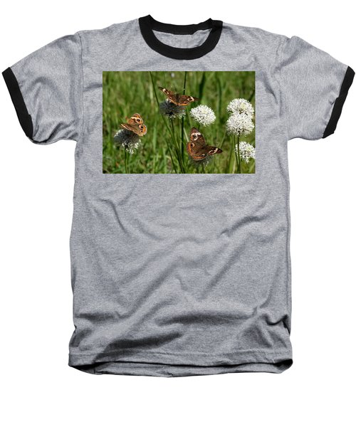 Three Buckeye Butterflies On Wildflowers Baseball T-Shirt