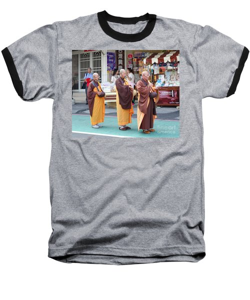 Baseball T-Shirt featuring the photograph Three Buddhist Monks Chant Scriptures by Yali Shi