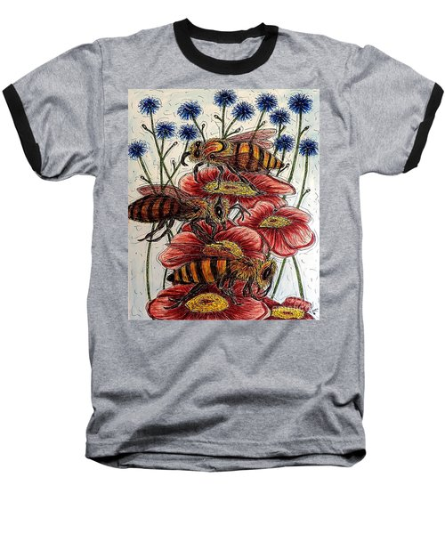 Three Busy Bees Baseball T-Shirt
