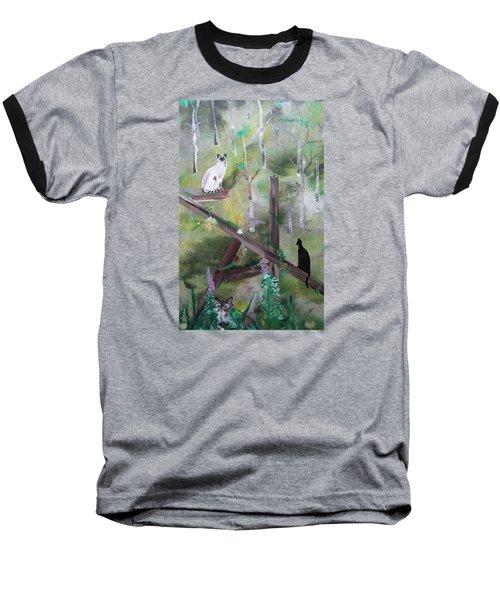 Three Cats In The Yard Baseball T-Shirt
