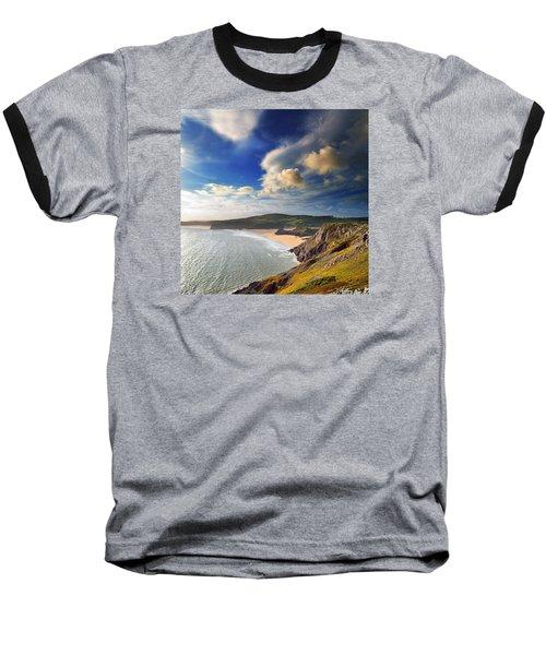 Three Cliffs Bay 1 Baseball T-Shirt