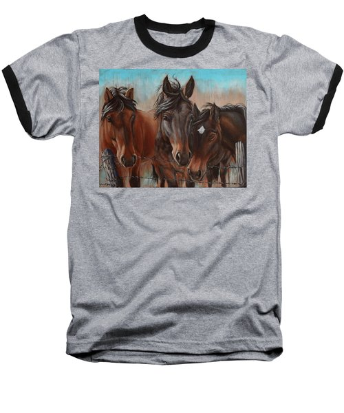 Three Curious Friends Baseball T-Shirt