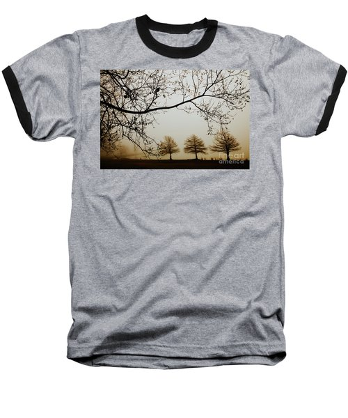 Baseball T-Shirt featuring the photograph Three Cypress In The Mist by Iris Greenwell
