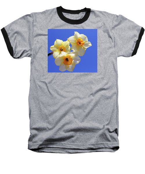 Baseball T-Shirt featuring the photograph Three Daffodils by Judy Vincent
