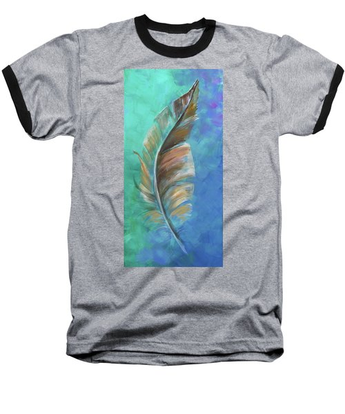 Baseball T-Shirt featuring the painting Three Feathers Triptych-center Panel by Agata Lindquist