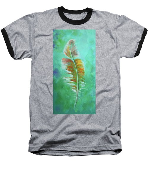 Baseball T-Shirt featuring the painting Three Feathers Triptych-left Panel by Agata Lindquist