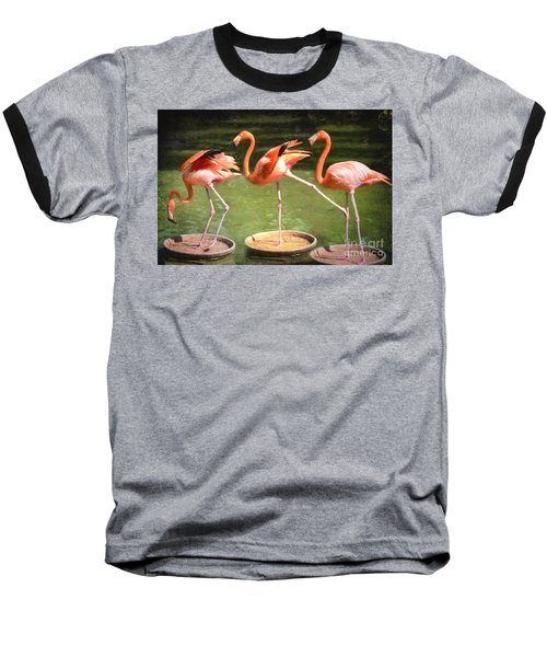 Baseball T-Shirt featuring the photograph Three Flamingos by Judy Wolinsky