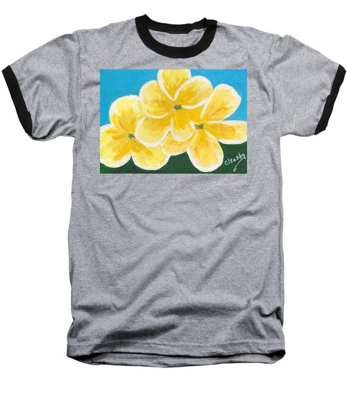 Three Flowers On Blue Baseball T-Shirt by Patricia Cleasby