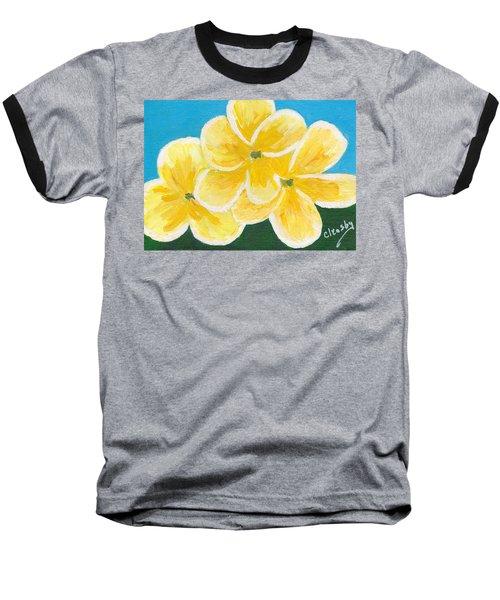 Three Flowers On Blue Baseball T-Shirt