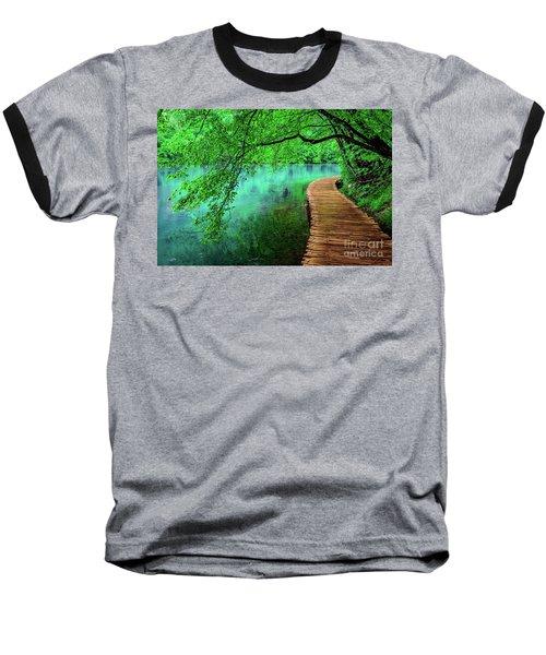 Tree Hanging Over Turquoise Lakes, Plitvice Lakes National Park, Croatia Baseball T-Shirt