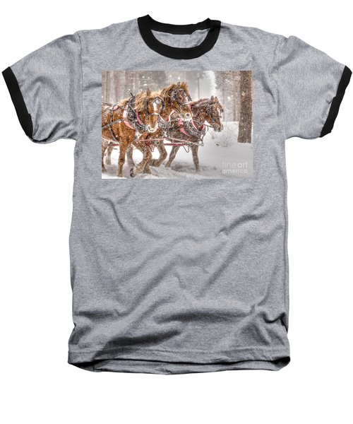Three Horses - Color Baseball T-Shirt