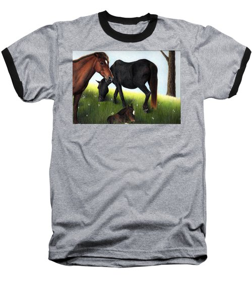 Three Horses Baseball T-Shirt