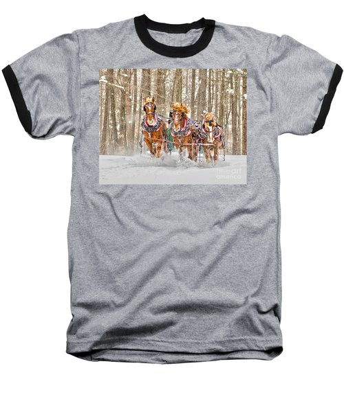 Three Horses Running Baseball T-Shirt