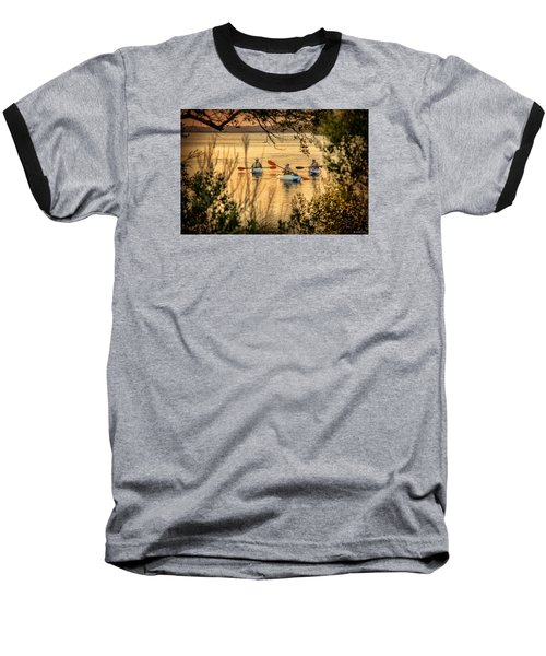 Baseball T-Shirt featuring the digital art Three Kayaks Coming Home by Phil Mancuso