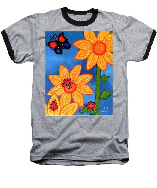 Three Ladybugs And Butterfly Baseball T-Shirt by Genevieve Esson