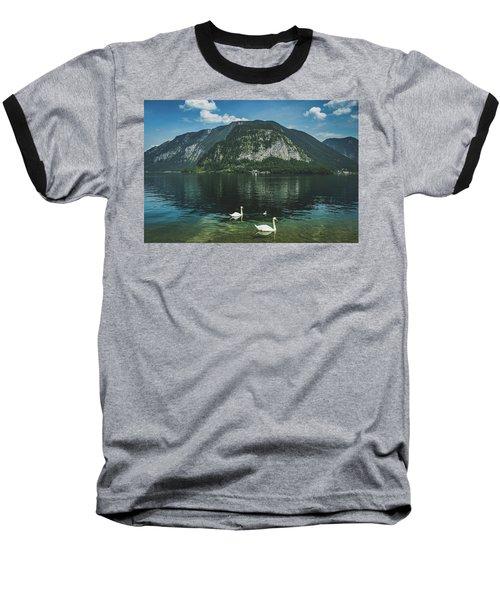 Three Lake Hallstatt Swans Baseball T-Shirt