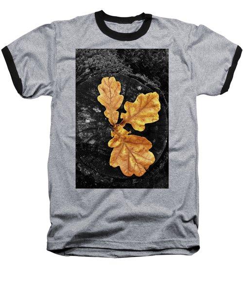 Three Leaves On Black Baseball T-Shirt