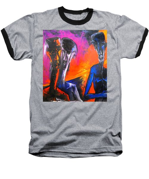 Three Men Before A Setting Sun Baseball T-Shirt by Kenneth Agnello