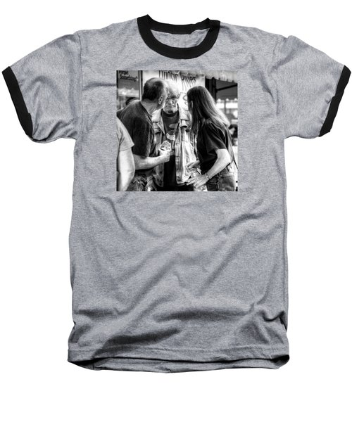 Three Men On A Sidewalk Baseball T-Shirt