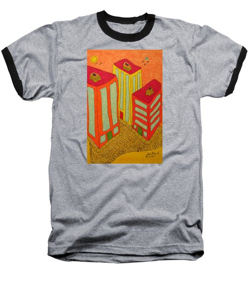 Three Office Towers Baseball T-Shirt