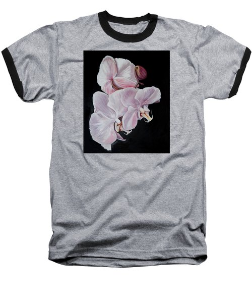 Baseball T-Shirt featuring the painting Three Orchids by Sandra Nardone
