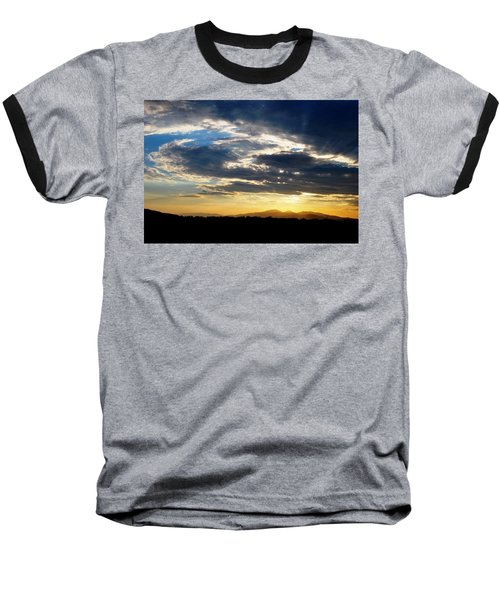 Three Peak Sunset Swirl Skyscape Baseball T-Shirt