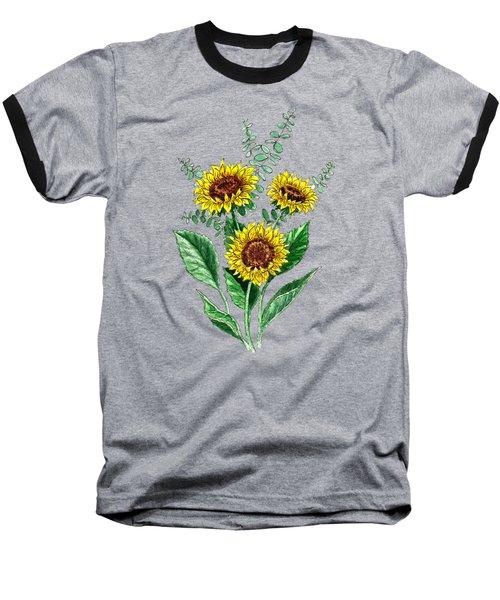 Three Playful Sunflowers Baseball T-Shirt by Irina Sztukowski