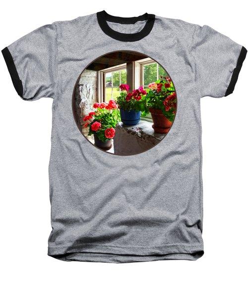 Three Pots Of Geraniums On Windowsill Baseball T-Shirt