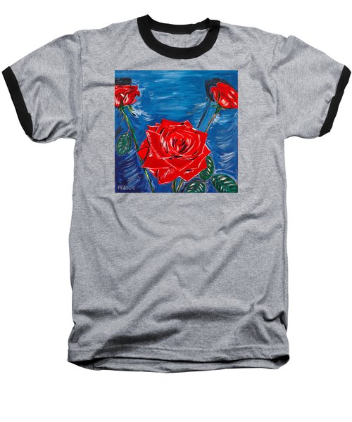 Three Red Roses Four Leaves Baseball T-Shirt by Valerie Ornstein