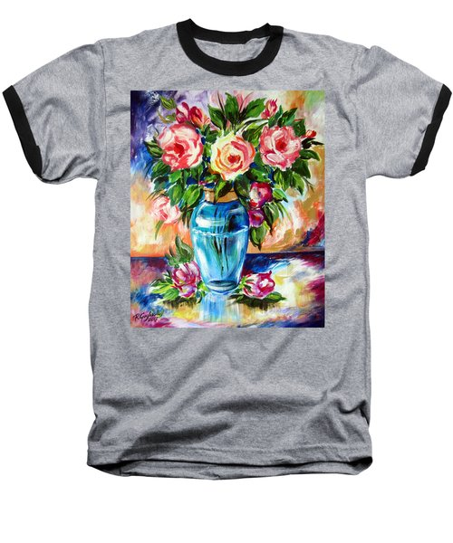 Baseball T-Shirt featuring the painting Three Roses In A Glass Vase by Roberto Gagliardi