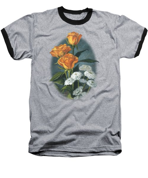 Three Roses Baseball T-Shirt by Lucie Bilodeau