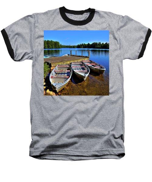 Three Rowboats Baseball T-Shirt by David Patterson