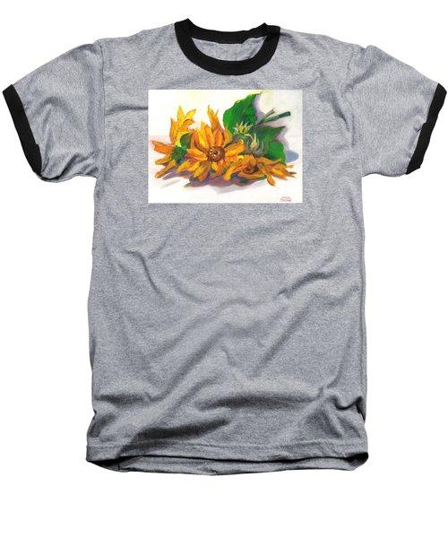Three Sunflowers Baseball T-Shirt by Susan Thomas