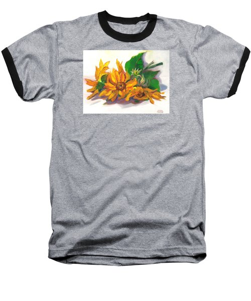 Three Sunflowers Baseball T-Shirt