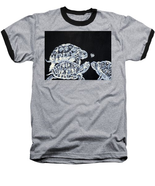 Baseball T-Shirt featuring the painting Three  Terrapins And One Fly by Fabrizio Cassetta