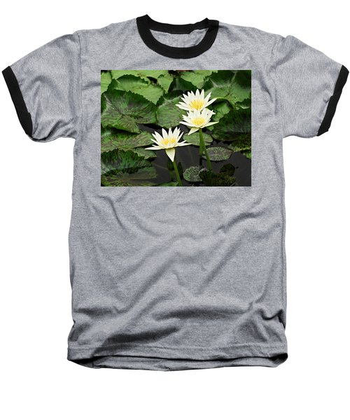 Three Water Lilies Baseball T-Shirt