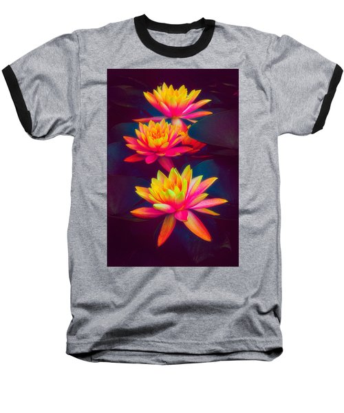 Baseball T-Shirt featuring the photograph Three Waterlilies by Chris Lord