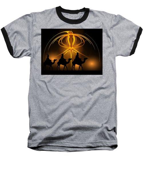 Three Wise Men Christmas Card Baseball T-Shirt by Bellesouth Studio