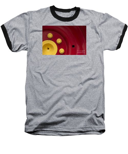 Three Yellow Nuts On A Red Wheel Baseball T-Shirt by Wendy Wilton