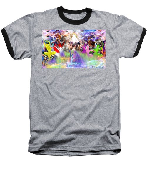 Baseball T-Shirt featuring the digital art Throneroom Dance by Dolores Develde