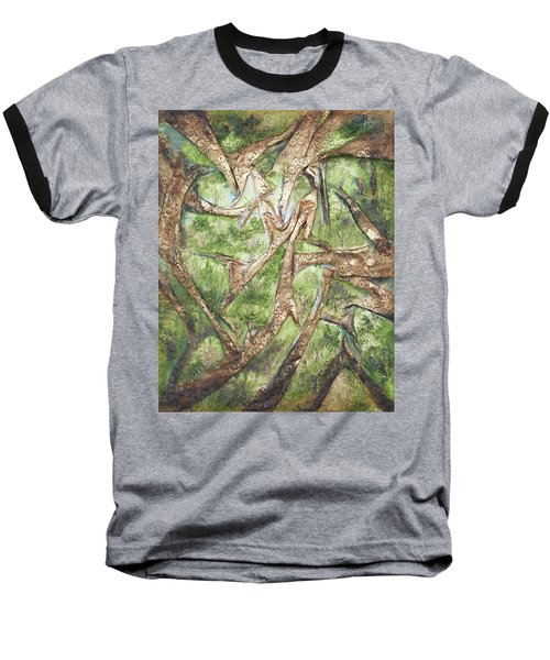 Through Lacy Branches Baseball T-Shirt by Angela Stout