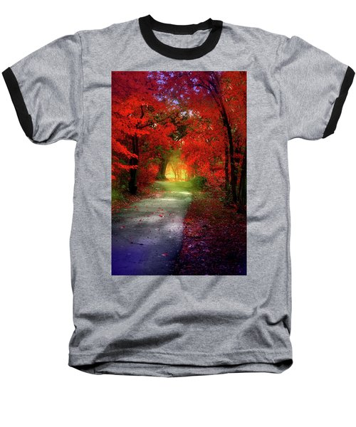 Through The Crimson Leaves To A Golden Beginning Baseball T-Shirt