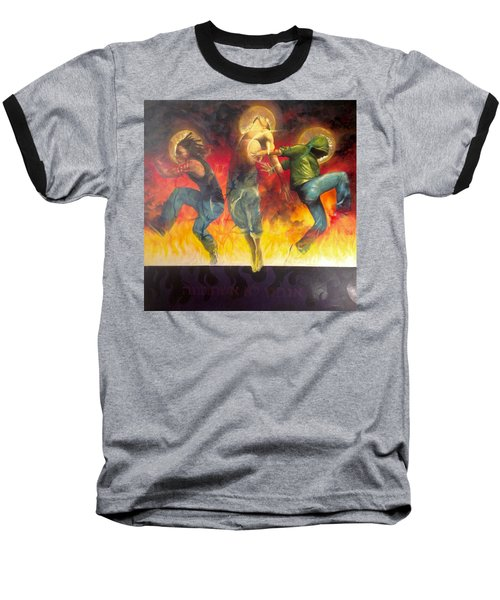 Baseball T-Shirt featuring the painting Through The Fire by Christopher Marion Thomas