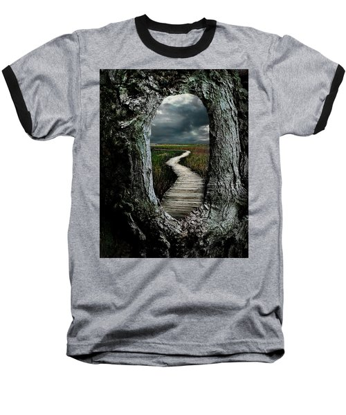 Through The Knot Hole Baseball T-Shirt by Rick Mosher