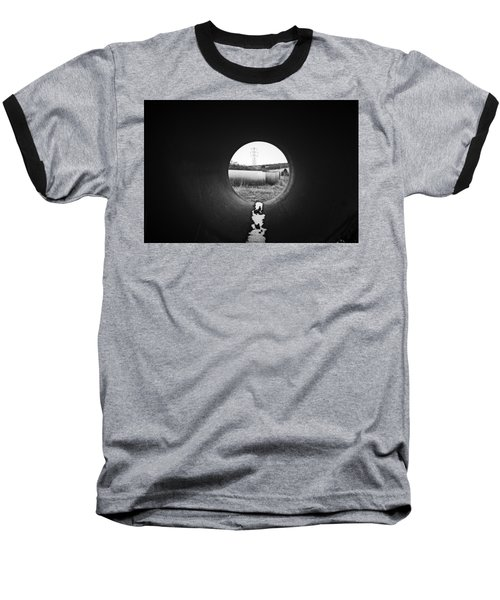 Through The Pipe Baseball T-Shirt by Keith Elliott
