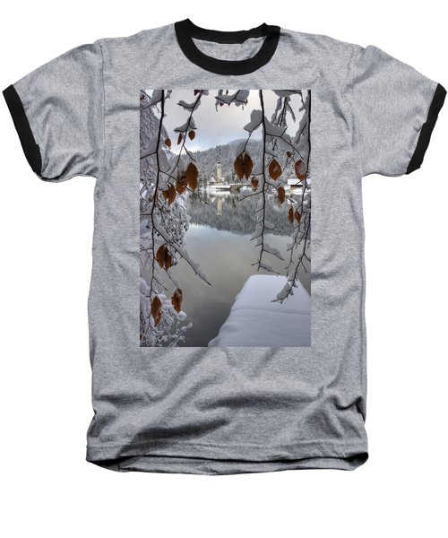 Baseball T-Shirt featuring the photograph Through The Snow Trees by Ian Middleton