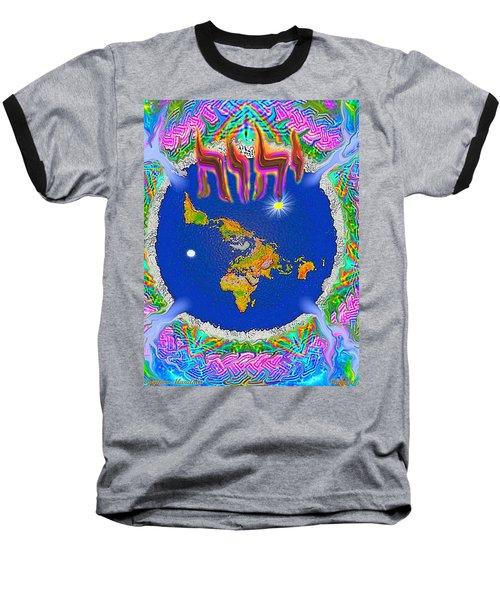 Y H W H Creation Mandala Flat Earth Baseball T-Shirt