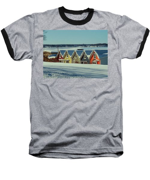 Winter View Ti Park Boathouses Baseball T-Shirt