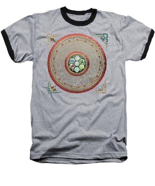Tibetan Om Mantra Mandala In Gold On Black And Red Baseball T-Shirt